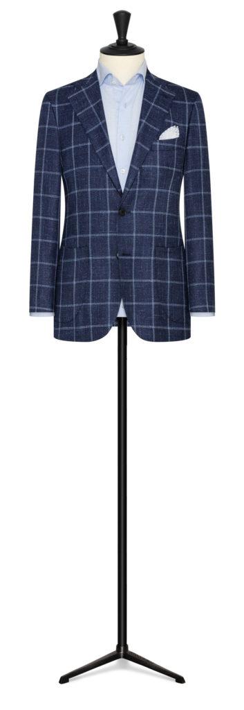 Blå plaid jakke med stof fra Cerutti